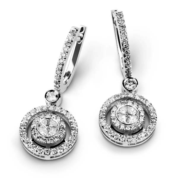 Photo of white gold earrings with white diamonds